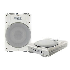 """New PLMRBS10 1000W 10"""" Low-Profile Super Slim Active Amplified Marine Subwoofer"""