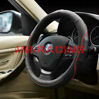 """Black Ultra Soft Genuine Leather Steering Wheel Cover 14.5"""" to 15"""" Size M 8405R"""