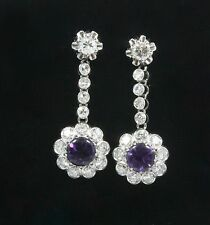 Vintage Platinum Earrings with Diamonds & Amethyst
