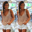 HOT Sequin Womens Lady Sparkle Glitter Tank Sleeveless Coctail Party Top T-Shirt