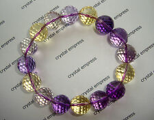 FENG SHUI - 12MM HIGH GRADE FACETED AMETRINE BRACELET (AMETHYST CITRINE)