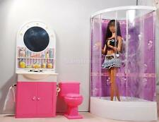 Dollhouse Bathroom Furniture Shower Room Closestool Mirror Sink for Barbie