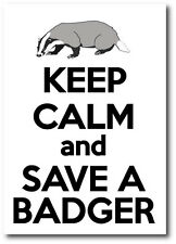 KEEP CALM AND SAVE A BADGER - Badgers / Wild Life Vinyl Sticker 15 cm x 17 cm