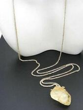 $20 Rachel Natural Citrine Crystal Stone Pendant Necklace Goldtone Chain 30/32""