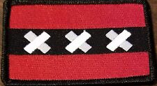 Amsterdam Flag Military Patch With VELCRO® Brand Saint Andrew's Black Border