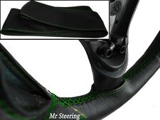 FITS VOLVO 940 (90-98) REAL BLACK LEATHER STEERING WHEEL COVER GREEN STITCHING