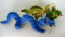 "Lot Of 2 Folkmanis 14"" Dragon Puppets Green & Blue"