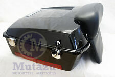 Mutazu Black Chopped Tour Pak Trunk with Backrest for Harley Touring FLHT FLTR