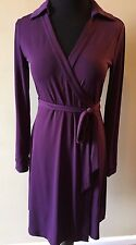 Calvin Klein Purple V-Neck Stretch True Wrap Long Sleeve Dress size 4 or S DS2