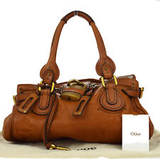 Authentic CHLOE Logos Paddington Shoulder Bag Leather Brown Italy Padlock 05Z696