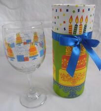 Wine Glass in Decorative Box features Happy Birthday! - wine lover GIFT idea!