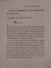 1814 Lettre s/PREFET LUNEVILLE VOITURE à CHEVAL MEURTHE LORRAINE NAPOLEON EMPIRE