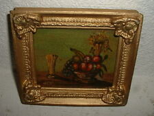 Cute old oil painting on canvas, Still life with flowers, is signed, nice frame!