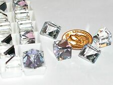 1 pc.Vintage SWAROVSKI Crystal Cube Vitrail Supplies No holes 3/4 flat back 8mm