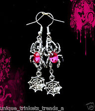 HOT PINK CRYSTAL RHINESTONE SPIDER WEB DANGLE SILVER EARRINGS~HALLOWEEN GIFT