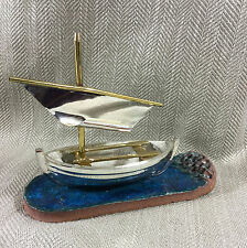 Sail Boat Sculpture Art Pottery Ship Sail Ceramic Mid Century Modern Decor Vtg