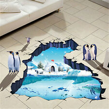 Removable Waterproof Wall Sticker 3D Polar Glacier Floor Pattern Home Decoration