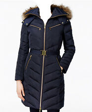 NWT MICHAEL Michael Kors Faux Fur Hood Belted Down Puffer Coat  NAVY (L)