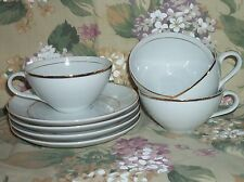 NEW Vintage 4 Japan SONNET Fine China CUPS & SAUCERS White/Gold - SHOP DISPLAY