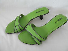 WOMEN'S ROSSINI SHOES HIGH HEEL OPEN TOE STRAPPY SANDALS GREEN LEATHER SIZE 6