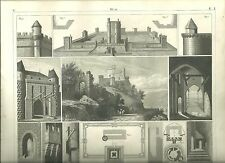 Original Steel Engraving From 1850s Castle with Schematics and Pictures of Rooms