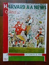 1938 HARVARD v CORNELL college football program - great cover illustration art