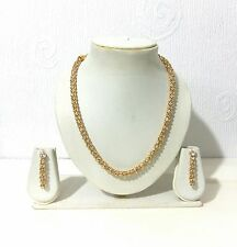 STUNNING GOLD DIAMONTE NECKLACE EARRING SET BRIDAL/WEDDING/PARTY/PROM GOLD TONE