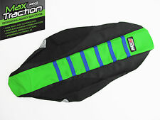 KAWASAKI KXF450 2012 2013 RIBBED SEAT COVER BLACK + GREEN + BLUE STRIPES RIBS