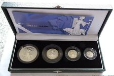 2001 BRITANNIA SILVER PROOF 4 COIN SET CASED WITH COA