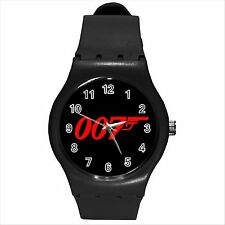NEW HOT JAMES BOND 007 Black Round Sport Wrist Watch Medium D03