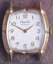 Perfex 50s Vtg Art Deco  Faceted Case Bump Automatic 17j AS 1250 Parts/Restore