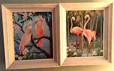 MID CENTURY PINK FLAMINGO COCKATOO PBN PAINT BY NUMBER MATCHED PAIR FRAMED 20x16