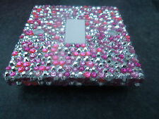 DIAMANTE RHINESTONE CRYSTAL LIGHT SWITCH PINK AND SILVER SPARKLY BLING