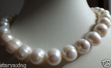 """HUGE 12-13MM SOUTH SEA GENUINE WHITE BAROQUE PEARL NECKLACE 18"""""""