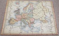 EUROPE - ANTIQUE G. PAULY WOODEN JIGSAW PUZZLE c1910 - MAP