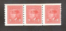 Canada Scott 265 - Mint Never Hinged. Coil Strip Of 3.  OG.  #02 CAN265