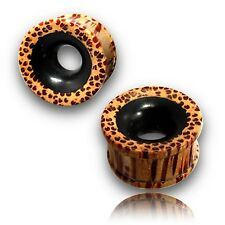 "PAIR OF 7/16"" INCH 000G COCONUT WOOD TUNNELS INLAY EBONY PLUGS PLUG"