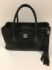 Chanel New Boutique Medium Black Python Shopping Tote 100% Authentic