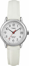 Timex T2H391, Women's Easy Reader, White Leather Watch, Indiglo, Date, T2H3919J