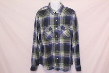 Men's American Eagle Blue/Green Madras Pearl-Snap Long-Sleeve - Size XL
