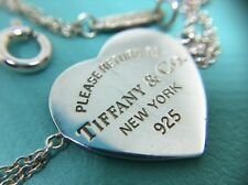 "Please Return to Tiffany & Co. Heart Charm Double Chain Bracelet 6.75"" Silver"