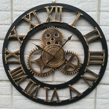 Wall Clock with Gears Industrial Wall Art Vintage Wooden Rustic Home Decor Art