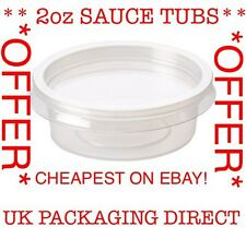 100 PLASTIC CONTAINERS & LID 2oz Clear SAUCE TUB POT FAST FOOD DISPOSABLE Offer