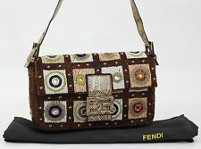 100% Genuine Fendi Italian Designer Hand Beaded Party shoulder mini baguette bag