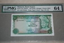(PL) OLD PRICE: RM 5 A/83 792364 PMG 64 ISMAIL ALI 3RD SERIES (1976-1981) UNC