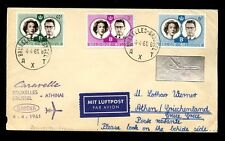 AIRMAIL FIRST FLIGHT 1961 CARAVELLE BELGIUM to GREECE...SILVER LABEL