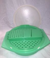 Vintage Tupperware Green Cheese Grater Bowl with Shredding Attachement & Lid