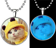 Fashion Punk Style Hat Cat Glow in the Dark Stainless Steel Necklace Pendant