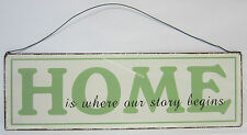 45cm Rustic Tin Sign Home Is Where Our Story Begins Wall Hanging Decoration