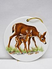 Doe & Fawn Deer 3in Round Porcelain Christmas Tree Ornament Fired Decal